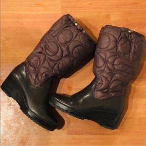 Coach Brown & Black Cantina Puffer Snow Boots 7.5